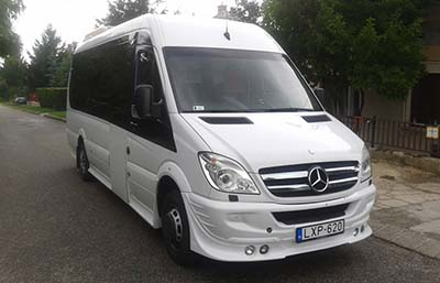 Vienna to Budapest by bus, coach transfers Group bus transfer. with 18, seater Mercedes Sprinter bus. Fully air-conditioned, premium category. We recommend this bus for companies, travel agencies, bigger groups for airport transfers, scenic tours or international trips.