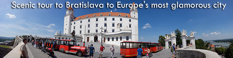 Program and sights - Bratislava scenic tour: Take a stroll through the traffic-free old town, and breathe in the atmosphere of its centuries-old streets, squares and buildings. Walk, or take a short Minibus ride, up to the castle which currently hosts temporary historical exhibitions and from whose ramparts you can see nearby Hungary, Austria and the Danube valley. Do as the locals do and savour a coffee in one of the numerous city-centre cafes